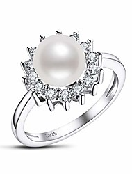 cheap -white pearl ring freshwater cultured 8mm round pearl ring with cubic zirconia in sterling silver jewelry gift for women size 6.5