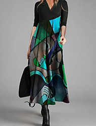 cheap -Women's Shift Dress Maxi long Dress - Long Sleeve Color Block Print Fall Winter Casual 2021 Blue S M L XL XXL