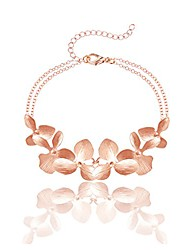 cheap -24k gold plated orchid flower necklace or bracelet + beautiful gift box (rose-gold plated bracelet)