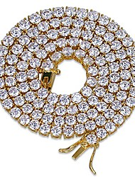 "cheap -18k gold plated 1 row 4mm diamond iced out chain macro pave cz hip hop tennis necklace 20"" 24"" (gold 18'' chain)"