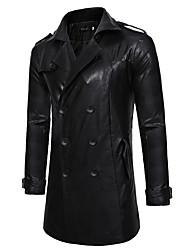 cheap -mens classic black uboat german naval military peacoat cowhide jacket