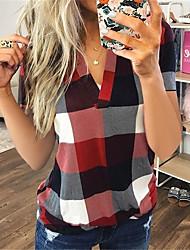 cheap -Women's Plus Size Tops Blouse Print Plaid Large Size Standing Collar Long Sleeve Big Size