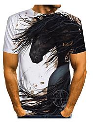 cheap -Men's T shirt 3D Print Graphic 3D Animal Print Short Sleeve Daily Tops Black / White