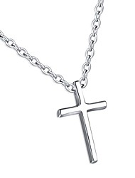 """cheap -925 sterling silver simple cross pendant necklace, rolo chain 16""""+1"""""""