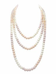 "cheap -long pearl necklace for women 69"" white faux pearl beads strand layered necklace"
