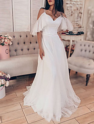 cheap -A-Line Wedding Dresses V Neck Floor Length Tulle Sleeveless Beach Sexy with 2021