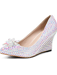 cheap -Women's Heels Wedge Heel Pointed Toe Sexy Minimalism Roman Shoes Wedding Party & Evening PU Rhinestone Crystal Sparkling Glitter Solid Colored Rainbow