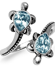 cheap -1.5ct. genuine blue topaz 925 sterling silver turtle bypass ring size 9