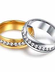 cheap -2pcs 18k gold plated rings all-around pave cz diamond thumb statement bands knuckle wedding rings for women white/gold stainless steel set size 7to11