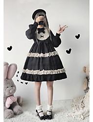 preiswerte -Lolita Prinzessin Lolita nette Art Kleid Damen Japanisch Cosplay Kostüme Schwarz / Fuchsia Volltonfarbe Bischof Langarm