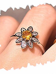 cheap -sunflower topaz ring, women silver plated cubic zirconia ring dainty sunflower ring delicate everyday ring for women (size:9)