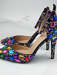 cheap -Women's Wedding Shoes Stiletto Heel Pointed Toe Wedding Pumps Vintage Sexy Minimalism Wedding Party & Evening PU Rhinestone Sparkling Glitter Buckle Camouflage Solid Colored Black Blue Pink
