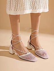 cheap -Women's Heels Chunky Heel Square Toe Daily PU Synthetics White Black