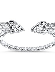 cheap -angel wings white cz cute ring new .925 sterling silver bali band size 8