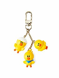 cheap -line friends sally friends metal snap keychain key ring bag charm with clip, yellow