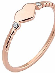 cheap -stainless steel heart shaped wedding band promise statement ring (rose gold, 10)
