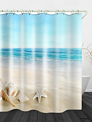 cheap -Beautiful Beach Scenery Print Waterproof Fabric Shower Curtain for Bathroom Home Decor Covered Bathtub Curtains Liner Includes with Hooks