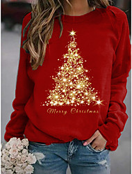 cheap -Women's Pullover Sweatshirt Graphic Star Christmas Basic Christmas Hoodies Sweatshirts  Loose Red