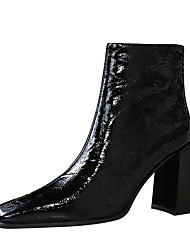 cheap -Women's Boots Chunky Heel Square Toe Booties Ankle Boots Sexy Minimalism Party & Evening Patent Leather Solid Colored Almond Black / Knee High Boots