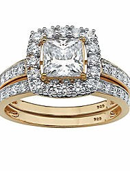 cheap -18k yellow gold over sterling silver princess cut cubic zirconia halo bridal ring set size 9