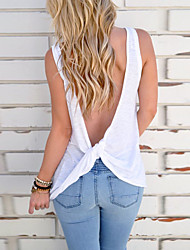 cheap -women's sexy sleeveless backless stretchy open back top knotted back strap shirt, l ,white