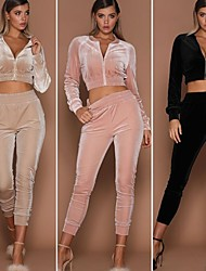 cheap -Women's 2pcs Tracksuit Winter Elastic Waistband Fashion Crop Top Cropped Pants Clothing Suit Cream Pink Velvet Fitness Gym Workout Running High Waist Thermal Warm Moisture Wicking Breathable Long