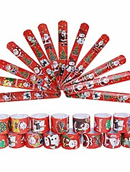 cheap -christmas slap bracelets, christmas circle wristband with santa claus snowman christmas tree patterns for kids christmas party bag fillers favours holiday goodie bag little toys (24pcs)