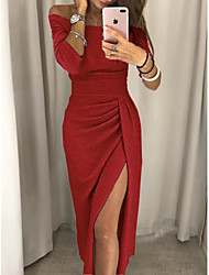 cheap -Women's Sheath Dress Midi Dress Black Purple Red Blushing Pink Dusty Rose Light Brown Fuchsia Brown Light Green Gray 3/4 Length Sleeve Solid Color Backless Sequins Split Fall Off Shoulder Casual Sexy