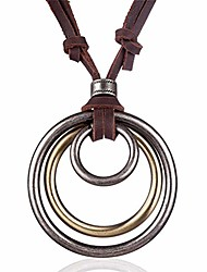 cheap -vintage men women jewelry rock punk necklaces & pendants genuine leather long necklace women gift colar choker (antique silver)