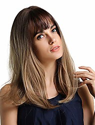 cheap -long straight ombre ash blonde wigs with dark brown roots 20 inch wigs for women women's wig synthetic wigs with bangs
