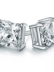 cheap -cz cubic zirconia square princess cut 8mm studs earrings - mens womens children fashion jewelry, bridesmaid groomsmen gifts (ed-68) (6mm)