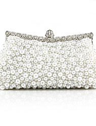 cheap -Women's Girls' Bags Synthetic Evening Bag Beading Solid Color Pearl Party Wedding Handbags Chain Bag White Black