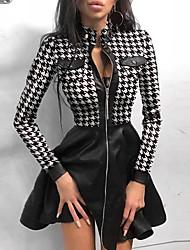 cheap -Women's Sheath Dress Knee Length Dress - Long Sleeve Houndstooth Patchwork Fall Winter Sexy Going out Slim 2020 White Black Blue S M L XL XXL