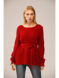 cheap -Women's Knitted Solid Color Pullover Long Sleeve Sweater Cardigans Crew Neck Fall Winter Red