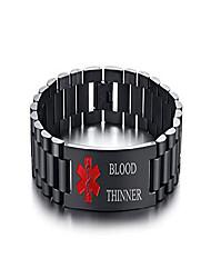 cheap -blood thinner stainless steel masculine watch wrist band link medical id bracelet men's medical alert wristband for men