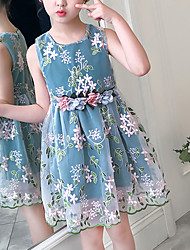 cheap -Kids Little Girls' Dress Red Floral Embroidered Blushing Pink Green Above Knee Sleeveless Cute Dresses Children's Day Slim