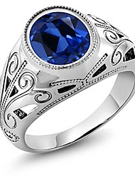 cheap -925 sterling silver oval blue simulated sapphire men's ring 6.13 ct (size 7)