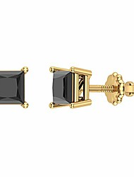 cheap -black diamond stud earrings for women men princess cut 14k yellow gold 2.00 ct t.w. gift box authenticity cards