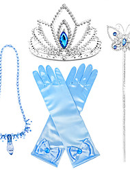 cheap -Princess Halloween Props Holiday Jewelry Girls' Movie Cosplay Accent / Decorative Dance Glove Blue Gloves Necklace Tiaras Christmas Halloween Carnival Plastics / Wand