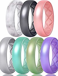 cheap -inner arc ergonomic breathable design, metallic silicone rings for women, silicone wedding band women, 6mm wide - 2mm thick