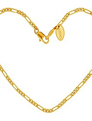 cheap -2.5mm figaro chain anklets for women and teen 24k gold plated (gold, 9)