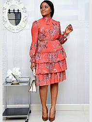 cheap -Plus Size Women's A-Line Dress Knee Length Dress Long Sleeve Print Ruffle Spring & Summer Boho Going out Cotton Blend Loose / vacation dresses