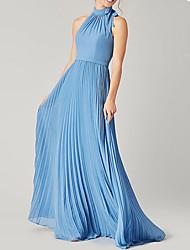 cheap -Sheath / Column Halter Neck Floor Length Polyester Bridesmaid Dress with Sash / Ribbon / Bow(s) / Pleats