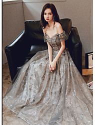cheap -A-Line Sparkle Elegant Engagement Formal Evening Dress Sweetheart Neckline Short Sleeve Floor Length Satin Tulle Sequined with Sequin 2021
