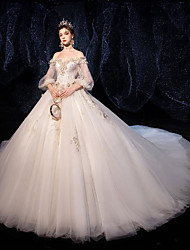 cheap -Ball Gown Wedding Dresses Strapless Court Train Tulle Sequined 3/4 Length Sleeve Formal Romantic Luxurious with Appliques 2020