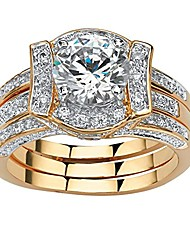 cheap -18k yellow gold plated round cubic zirconia vintage style jacket bridal ring set size 9