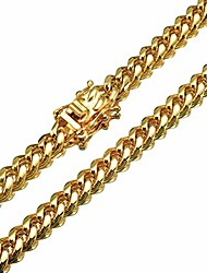 cheap -mens necklace 18k gold chain cuban link chain for men's jewelry, necklace for women, top 316l stainless steel(22inches length, 6mm width necklace)