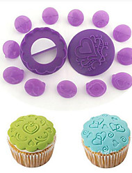 cheap -DIY Tools 14pcs Fondant Embossing Mold European Pattern Cake Cutting Mold Biscuit Decoration