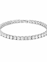 cheap -14k gold plated cubic zirconia classic tennis bracelet | white gold bracelets for women | 4mm cz, 7 inches