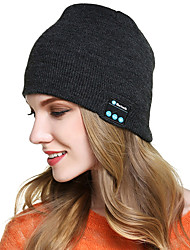 cheap -bluetooth beanie hat, hat with built-in stereo speakers  mic,unisex usb rechargeable headset knitted cap for outdoor,sports,camping,hiking,walking-black